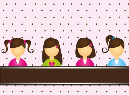 child girls over pink and brown background. vector Vector