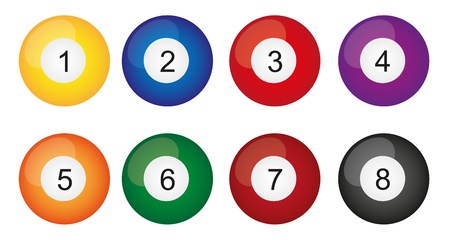 7 8: billiard balls isolated over white background. vector
