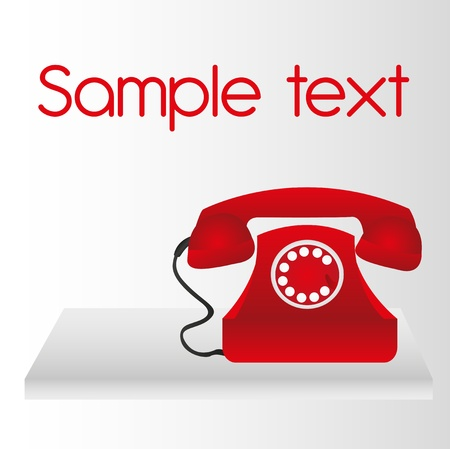 call us: red telephone over white table background. vector Illustration