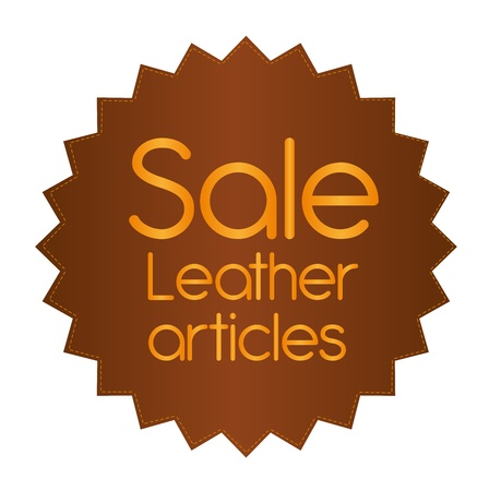 leather label with sale text isolated over white background. vector Vector