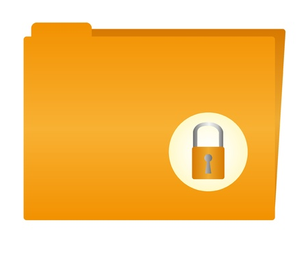 folder cartoon with padlock isolated over white background. vector Vector