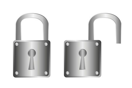 silver padlock isolated over white background. vector Stock Vector - 10790027