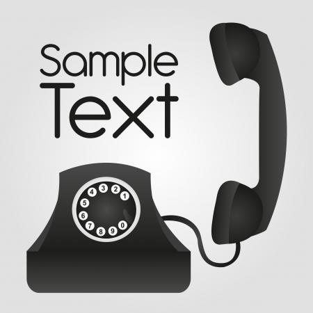 telefono caricatura: tel�fono negro con el fondo del espacio abvertising. vector Vectores