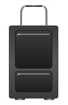 bag cartoon: black travel bag cartoon isolated over white background. vector