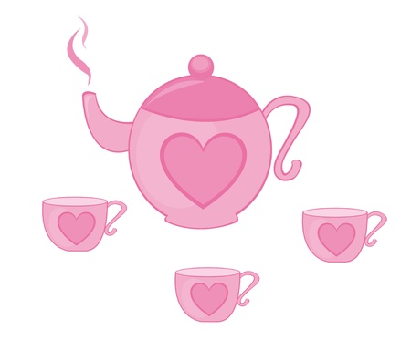 chinese tea cup: Copa Rosa tetera y t� con coraz�n aislada sobre fondo blanco. Vector