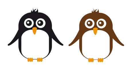 penguin cartoon isolated over white background. vector Vector