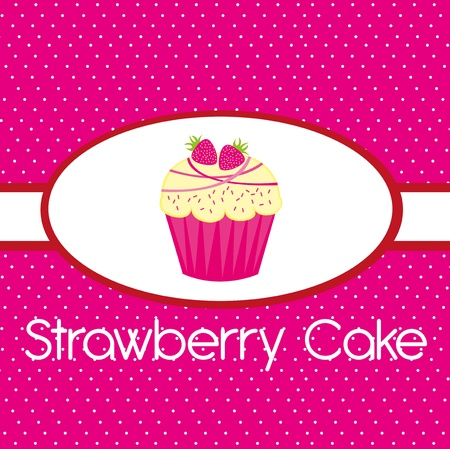 pink strawberry cake over pink background. vector Vector