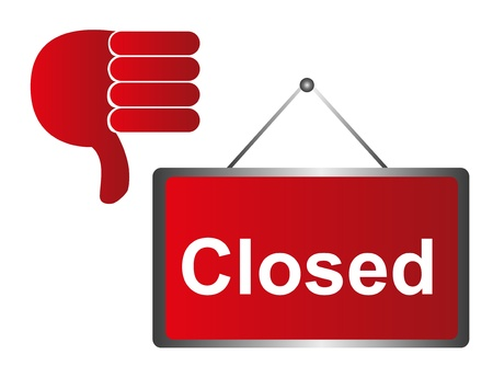 red closed sign wirh hand isolated over white background. vector Stock Vector - 10790115