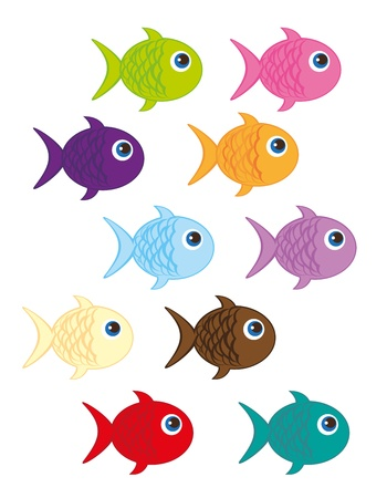 colorful fish: cute fish cartoon isolated over white background. vector