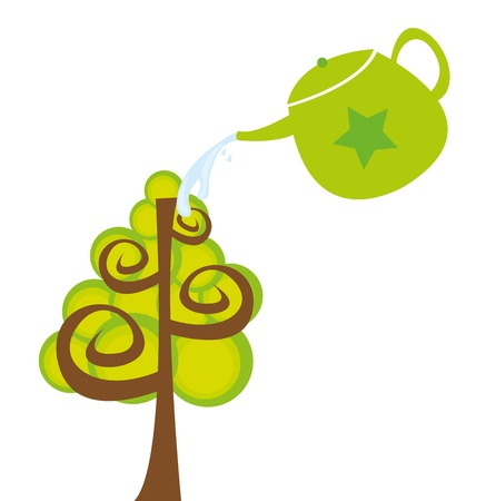 watering can and tree cartoon isolated over white background. vector Vector