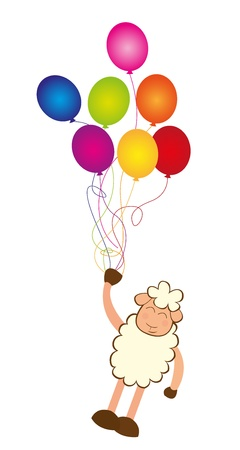 colorful balloons with sheep isolated over white background. vector Stock Vector - 10789999