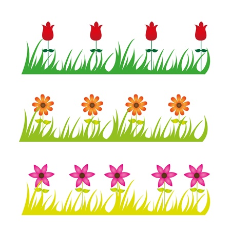 grass line: cute flowers and grass cartoon isolated over white background. vector Illustration