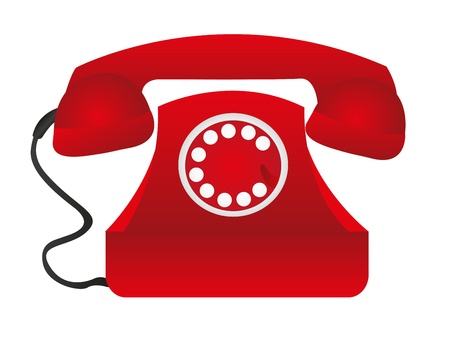 contact icon: red telephone over white table background. vector Illustration