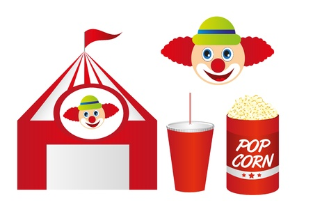 cirque: cute circus with pop corn and clown isolated over white background. vector Illustration