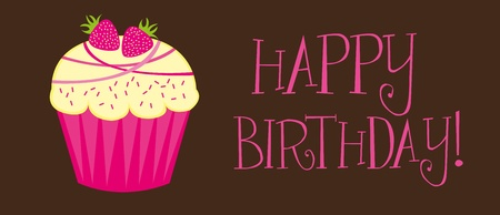 happy birthday with cupcake over brown background. vector Vector