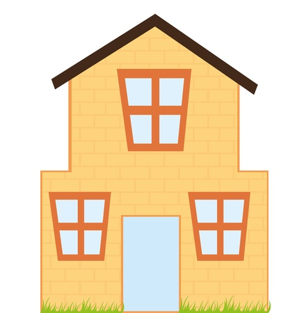wooden window: orange house cartoon with grass isolated over white background. vector