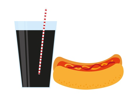commercial kitchen: hot dog  and drink isolated over white background. vector
