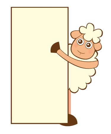 sheep cartoon with space advertising isolated. vector Stock Vector - 10790219