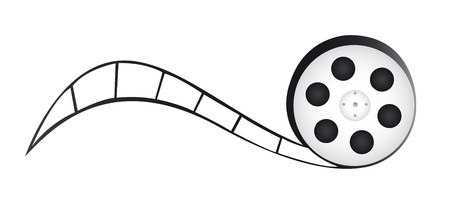 Roll film: caricatura de carrete de pel�cula aislada sobre fondo blanco. Vector