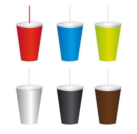 plastic container: colorful plastic cups isolated over white background. vector Illustration