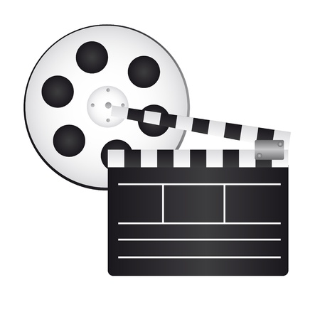 clapper board and film reel isolated background. vector Vector