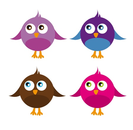 cute birds isolated over white background. vector