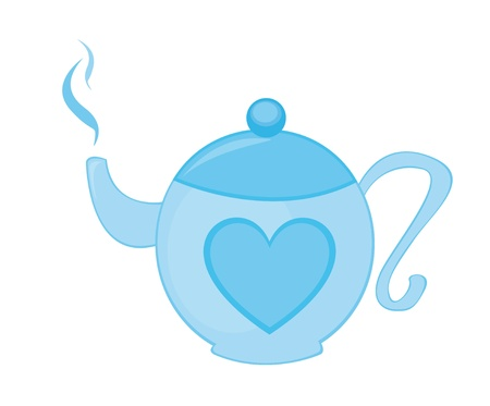 blue teapot with heart isolated over white background. vector Illustration