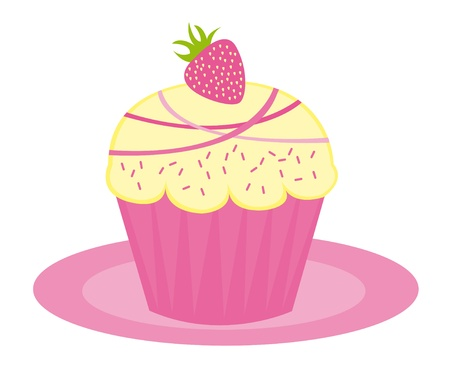 homemade cake: pink cup cake isolated over white background. vector