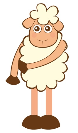 sheep cartoon: sheep cartoon isolated over white background. vector