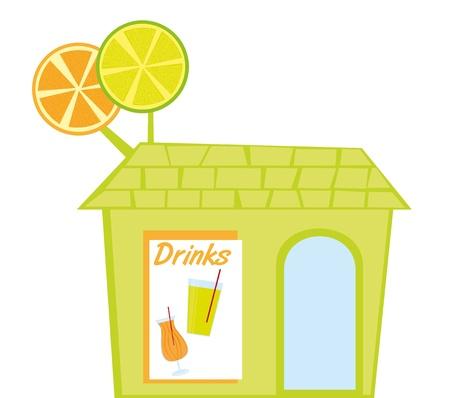 naranja caricatura: restaurante las bebidas aisladas sobre fondo blanco. vector