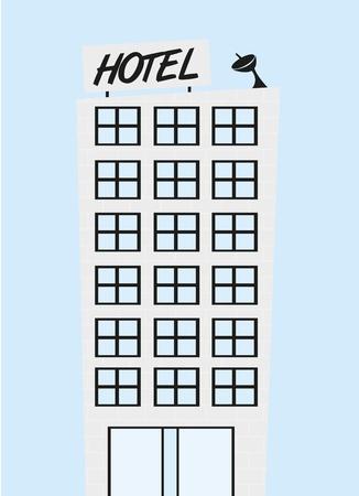 window wood: cute hotel cartoon over blue background. vector Illustration