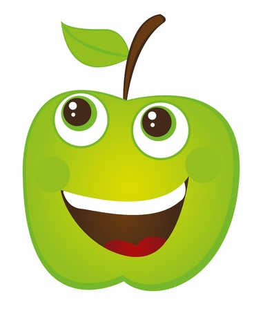 green apple cartoon isolated over white background. vector Stock Vector - 10790086