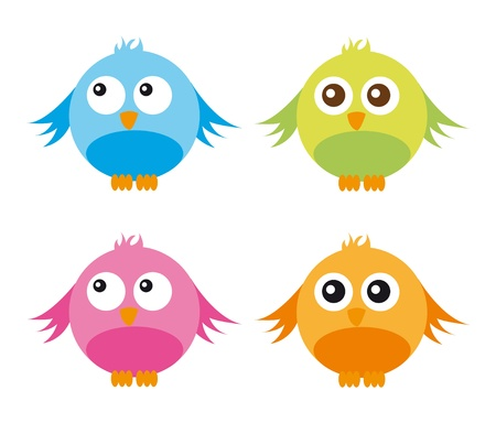 cute birds isolated over white background. vector Stock Vector - 10790301
