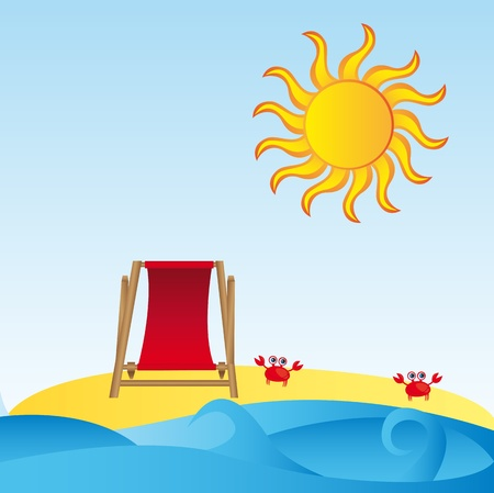landscape sea  with chair beach, crab,sand and sea background. vector Illustration