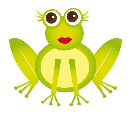 leapfrog: caricatura de rana chica aislada sobre fondo blanco. Vector