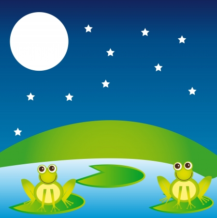 croaking: landscape with frogs overr night background. vector