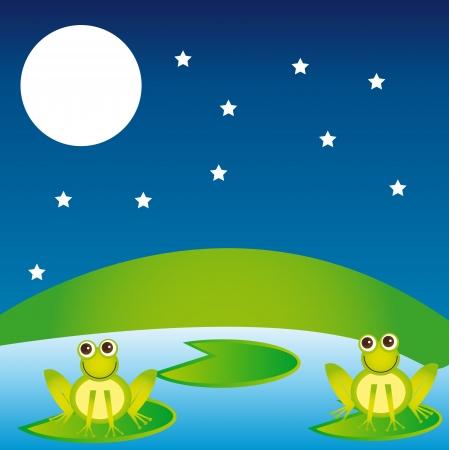 leapfrog: paisaje con el fondo de las ranas overr noche. vector
