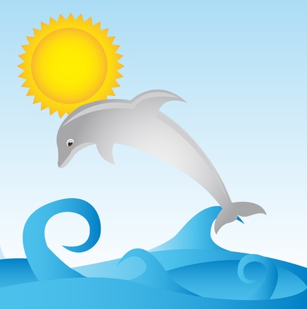 gray dolphin with sea and sun over sky background. vector Vector