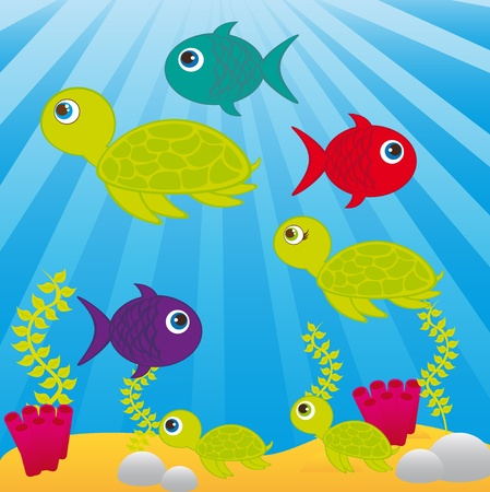 sea cartoons with animals and leaves over sea background. vector Vector