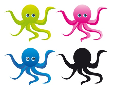 colorful octupus cartoon with silhouette isolated over white background. vector Vector