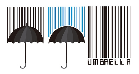 barcode and umbrella isolated over white background. vector Stock Vector - 10790002