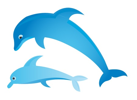 blue dolphin with sea and sun over sky background. vector Vector