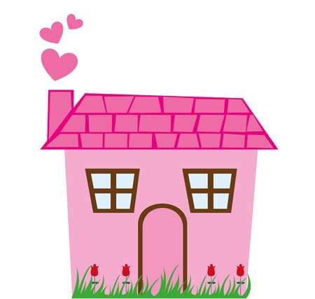 wood house: pink cute house with grass isolated over white background. vector Illustration