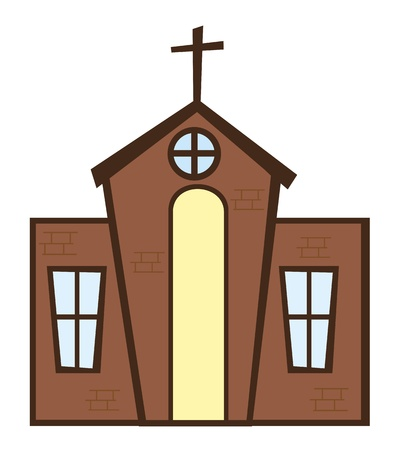 church building: brown church with cross isolated over white background. vector Illustration