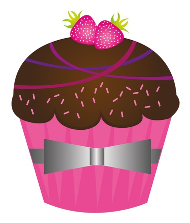 cup cakes: pasteles de Copa lindos chocolate sobre fondo blanco. Vector
