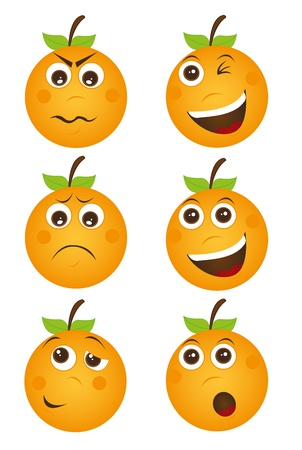 orange cartoon: expressions of oranges isolated over white background. vector