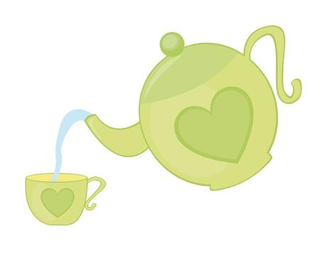 붓는 것: 녹색 주전자와 차 컵 흰색 배경 위에 절연. 벡터 일러스트