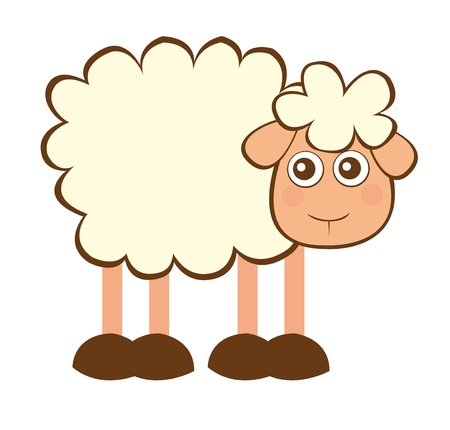 working animal: cute sheep cartoon isolated over white background. vector