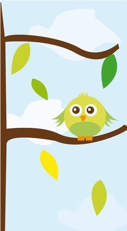 cute bird over tree with leaves over sky background. vector Vector