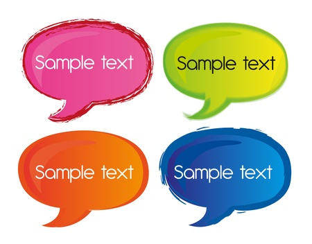conversing: colorful thoought bubbles isolated over white background. vector